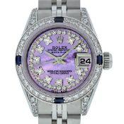 Rolex Ladies 26 Quickset Datejust Purple String Diamond Lugs And Sapphire Dateju
