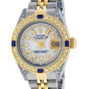 Rolex Ladies 2 Tone Mother Of Pearl String Diamond Lugs & Sapphire Datejust Wris