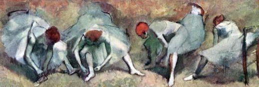 Edgar Degas - Dancers Lace Their Shoes
