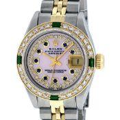Rolex Ladies 2 Tone Pink MOP Sapphire & Emerald 26MM Oyster Datejust Wriswatch