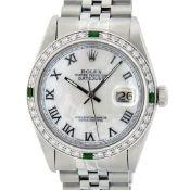 Rolex Mens Stainless Steel Silver MOP Roman 36MM Diamond & Emerald Datejust