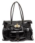 Carla Mancini Black Crinkle Patent Leather Shoulder Tote Bag
