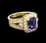 2.08 ctw Tanzanite and Diamond Ring - 14KT Yellow Gold