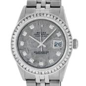 Rolex Mens SS Meteorite Diamond Princess Cut 36MM Datejust Oyster Perpetual Wris