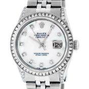 Rolex Mens Stainless Steel MOP Princess Cut Diamond Lugs 36MM Datejust Wristwatc