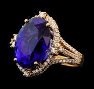 16.75 ctw Tanzanite and Diamond Ring - 14KT Rose Gold