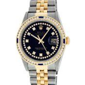 Rolex Mens 2 Tone Black String Diamond & Sapphire Diamond Datejust Wristwatch