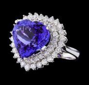 GIA Cert 12.12 ctw Tanzanite and Diamond Ring - 14KT White Gold