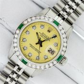 Rolex Ladies Stainless Steel Yellow Diamond & Emerald Oyster Perpetual Datejust