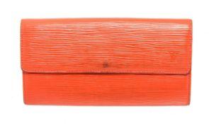Louis Vuitton Orange Epi Leather w/Intials Sarah Wallet