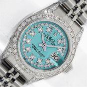 Rolex Ladies Stainless Steel 26MM Blue String Diamond Lugs Datejust Wristwatch W