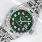 Rolex Ladies Stainless Steel Green Diamond & Emerald 26MM Datejust Wristwatch Wi