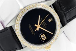 Rolex 36 Datejust Black Onyx Diamond Leather Band Oyster Perpetual Serviced