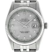 Rolex Mens Stainless Steel 36MM Slate Grey Diamond Oyster Perpetual Datejust Wri