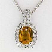 14K White Gold 3.71 ctw Cushion Checkerboard Citrine Diamond Halo Pendant Neckla