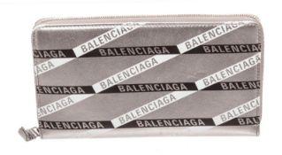 Balenciaga Silver Leather Zippy Wallet