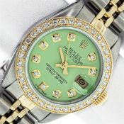 Ladies 26MM Datejust Green Diamond Oyster Perpetual 2T and SS