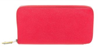 Hermes Red Epsom Leather Silkin Classic Wallet