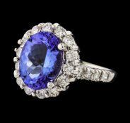 4.13 ctw Tanzanite and Diamond Ring - 14KT White Gold
