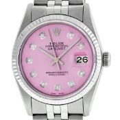 Rolex Mens Stainless Steel Pink Diamond 36MM Oyster Perpetual Datejust Wristwatc