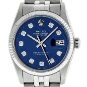 Rolex Mens Stainless Steel 36MM Blue Diamond Datejust Oyster Perpetual Wristwatc