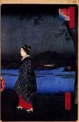 Hiroshige - Night View of Matsuchiyam