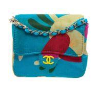 Chanel Blue Multicolor Satin Mini Chain Crossbody Bag