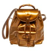 Gucci Brown Leather Bamboo Backpack