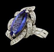 3.81 ctw Tanzanite and Diamond Ring - 14KT White Gold