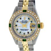 Rolex Ladies 2 Tone MOP Sapphire & Emerald Oyster Perpetual Datejust Wriswatch