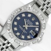 Rolex Ladies Stainless Blue Diamond Pyramid Diamond Datejust Wristwatch With Rol