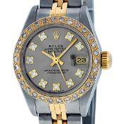 Rolex Ladies 2 Tone Slate Grey VS 26MM Diamond Datejust Oyster Perpetual Wristwa