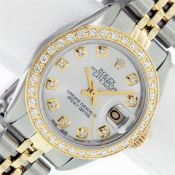 Ladies 26MM Datejust Silver Diamond Oyster Perpetual 2T and SS