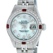 Rolex Ladies Stainless Steel Blue MOP Diamond & Ruby 26MM Datejust Wristwatch