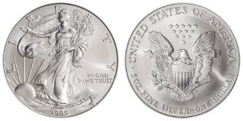 1999 American Silver Eagle .999 Fine Silver Dollar Coin