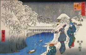 Hiroshige Two Ladies Conversing in the Snow