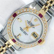 Rolex Ladies 2 Tone MOP & Sapphire Diamond Datejust Wriswatch With Rolex Box 26M