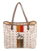 MCM Red White Lion Visetos Shopper Tote Bag