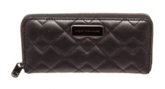 Marc By Marc Jacobs Black Quilted Leather Long Zippy Wallet