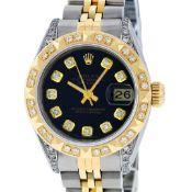 Rolex Ladies 2 Tone Black Lugs & Pyramid Diamond Datejust Wriswatch