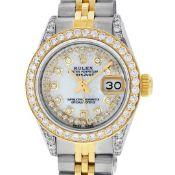Rolex Ladies 2 Tone MOP String Diamond Lugs Datejust Wriswatch