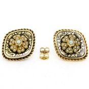 Antique Victorian 14K Gold Seed Pearl & Black Enamel Marquise Panel Earrings