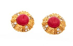 Chanel Gold Red CC Round Earrings