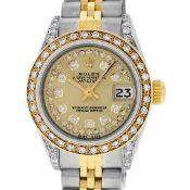 Rolex Ladies 2 Tone Champagne Diamond Lugs Oyster Perpetual Datejust Wristwatch