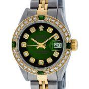 Rolex Ladies 2 Tone Green Vignette Diamond Datejust Wristwatch