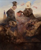 "VICENTE ARNÁS LOZANO (Madrid, 1949). ""The little orange lame"", 1999 Oil on board. Attached"