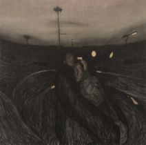 """CURRO GONZÁLEZ (Seville, 1960). """"Embrace"""", 2004. Pastel on canvas. Presents label of the Gallery"""