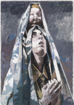 "VICTOR SOLANA (Zaragoza, 1985). ""Ecstasy"", 2018. Acrylic on muddy paper. Measurements: 50 x 70 cm;"