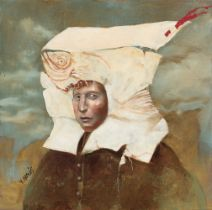 """VICENTE ARNÁS LOZANO (Madrid, 1949). """"Paper headdress"""", 2015. Oil on canvas. Attached certificate of"""