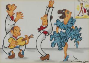 "XAVIER CUGAT (Girona, 1898 - Barcelona, 1990). ""Concert de flamenc"". Mixed media on paper. Titled,"